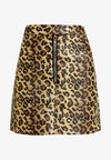 LEOPARD SKIRT WITH ZIP POPPER DETAIL - Falda acampanada - tan