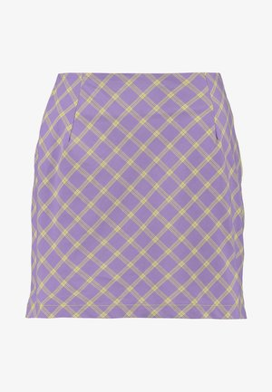 CHECK MINI SKIRT WITH CONTRAST ZIPS - Minisukně - violet