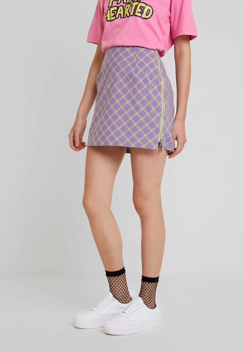 The Ragged Priest - CHECK MINI SKIRT WITH CONTRAST ZIPS - Minisukně - violet