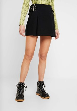 DRILL BOX PLEAT SKIRT WITH EYELET DETAIL - A-linjekjol - black