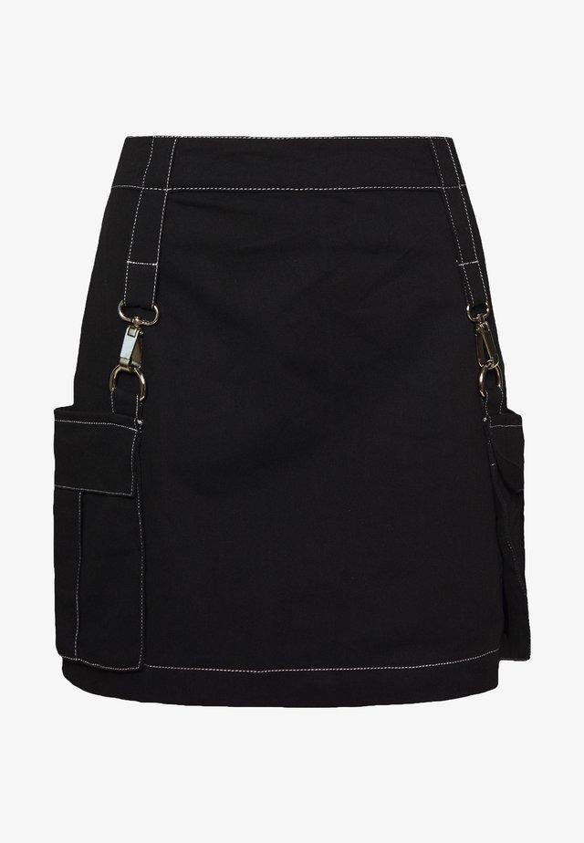 MINI SKIRT WITH TRIGGERS - Mini skirt - black