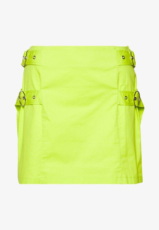 SKIRT SIDE BUCKLES - Mini skirt - lime