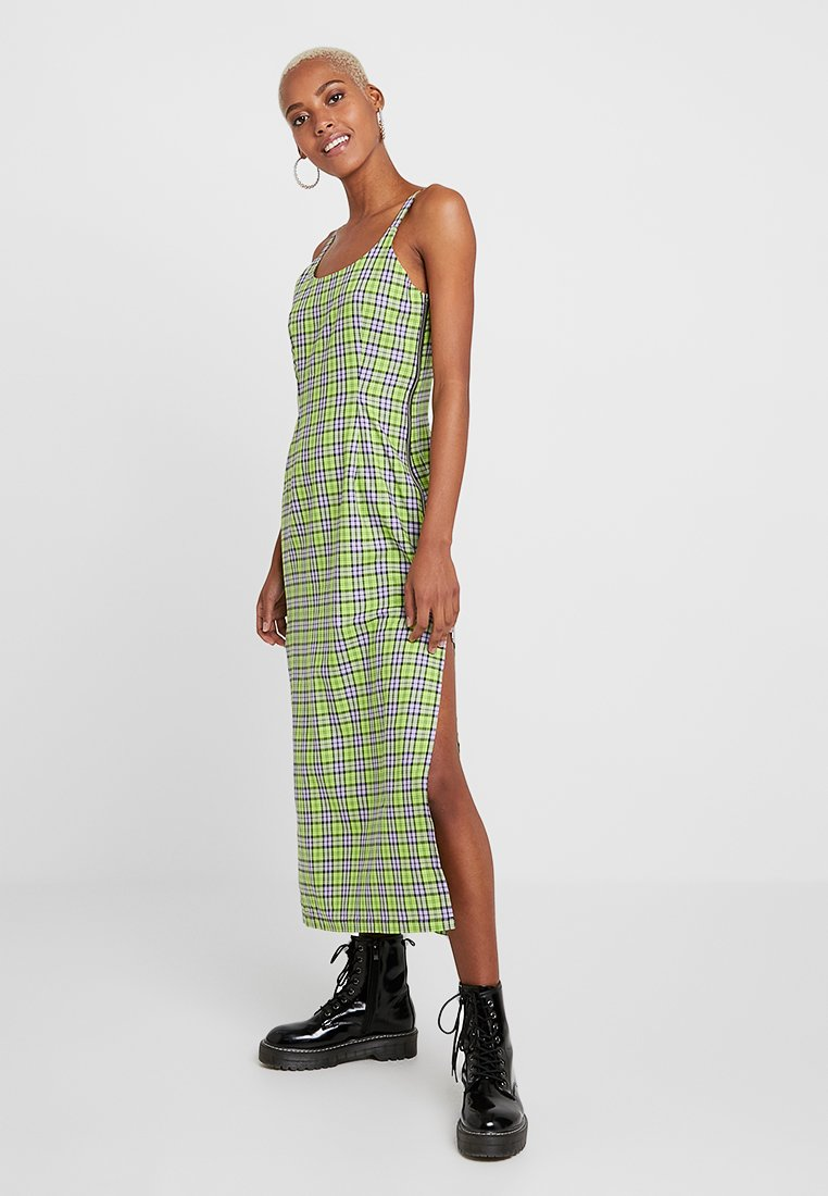 The Ragged Priest - CHECK CAMI DRESS WITH SIDE SEAM ZIPS SPLITS - Maxiklänning - lime/lilac