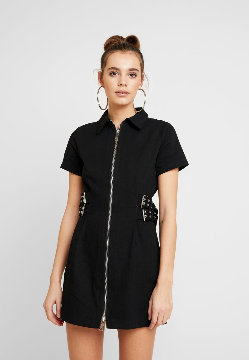 The Ragged Priest - DRILL FITTED  DRESS WITH BUCKLE EYELET DETAIL - Farkkumekko - black