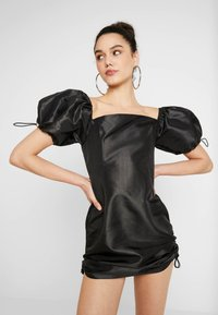 The Ragged Priest - TAFFETA MINI DRESS WITH PUFF SLEEVE AND TOGGLE DRAWSTRING DETAIL - Robe d'été - black - 0
