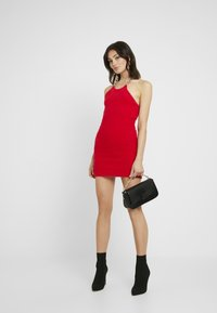 The Ragged Priest - FLUFFY MINI HALTER DRESS WITH CHAIN DETAIL - Day dress - red - 1