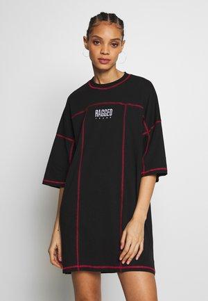 FLATLOCK SKATER DRESS - Denní šaty - black