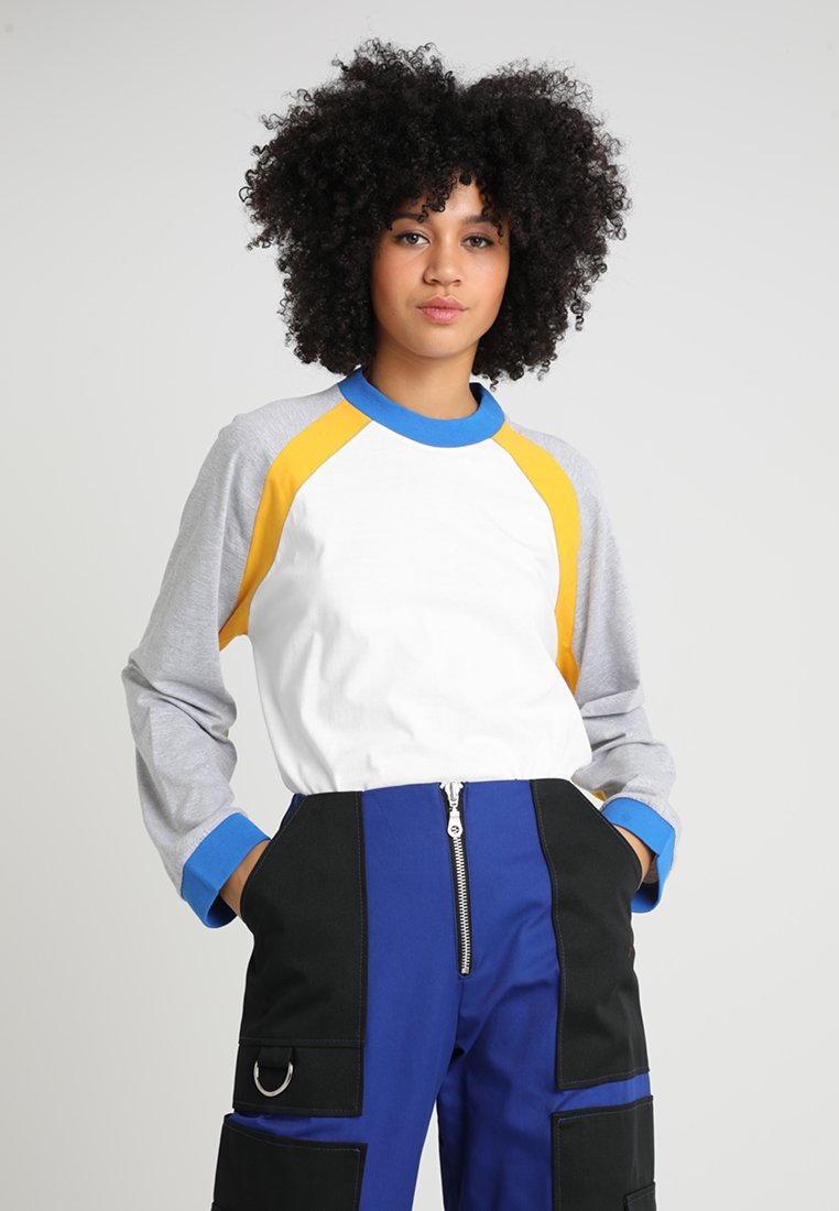 The Ragged Priest - PANELLED TEE - Long sleeved top - white/grey/yellow