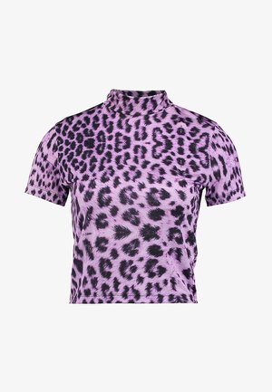 LEOPARD HIGH NECK RINGER - Print T-shirt - lilac/black