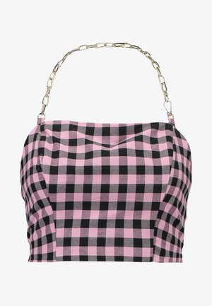 GINGHAM TUBE WITH CHAIN HALTER - Blouse - pink