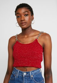 The Ragged Priest - GLITTER CAMI  WITH CHAIN STRAP DETAIL - Top - red - 0