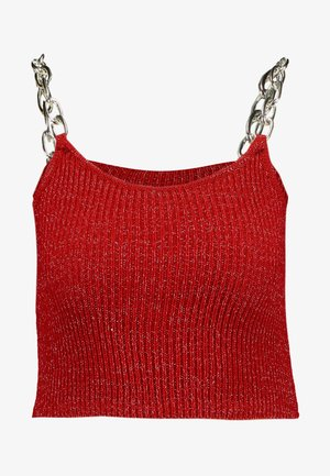 GLITTER CAMI  WITH CHAIN STRAP DETAIL - Top - red