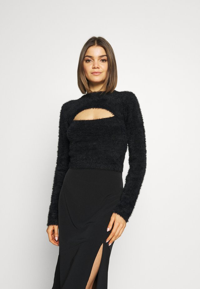PEEKABOO LONG SLEEVE - Sweter - black