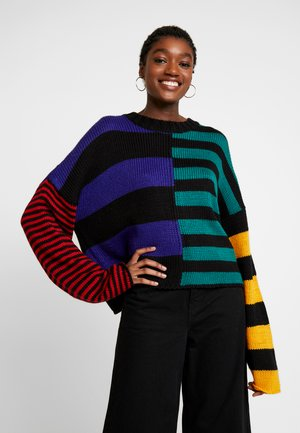 MULTI STRIPE CHUNKY CREW NECK - Jumper - multi