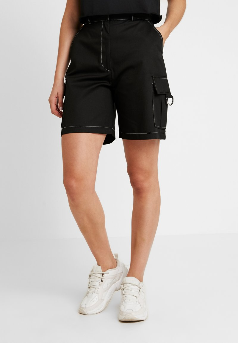 The Ragged Priest - DRILL COMBAT SHORT WITH D RINGS - Denim shorts - black