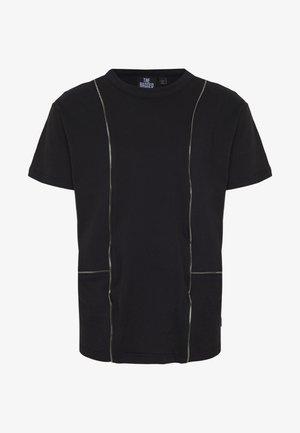 TEE WITH ZIP PANELS - T-shirt basic - black