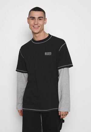 DOUBLE LAYERED TOPSTICH TEE - Long sleeved top - black/white