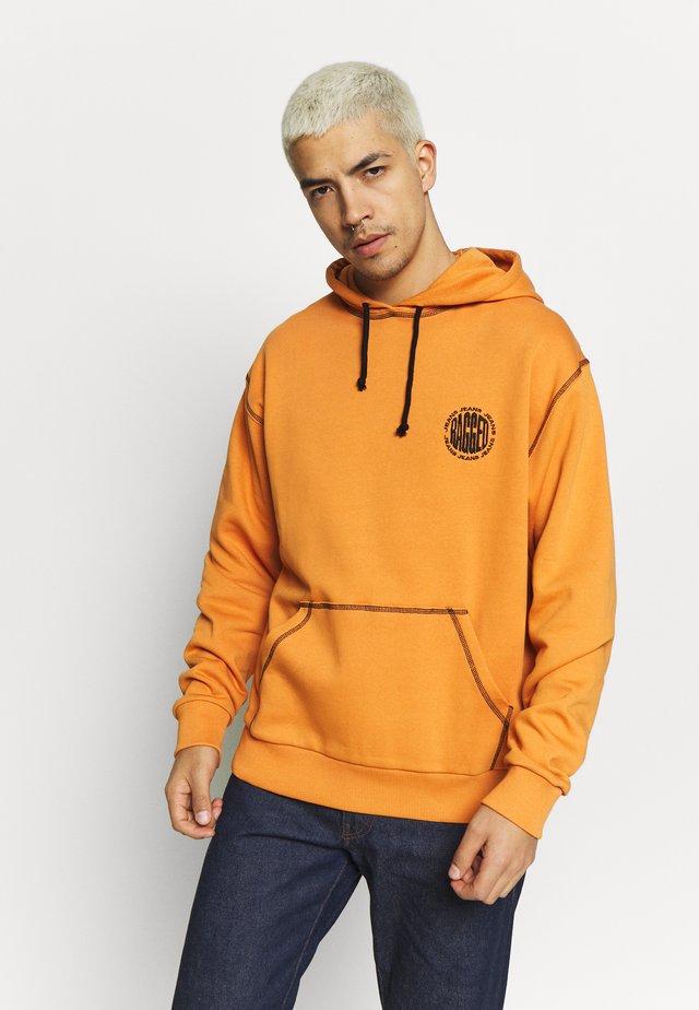 RAGGED HOODIE WITH BACK PRINT - Hoodie - orange