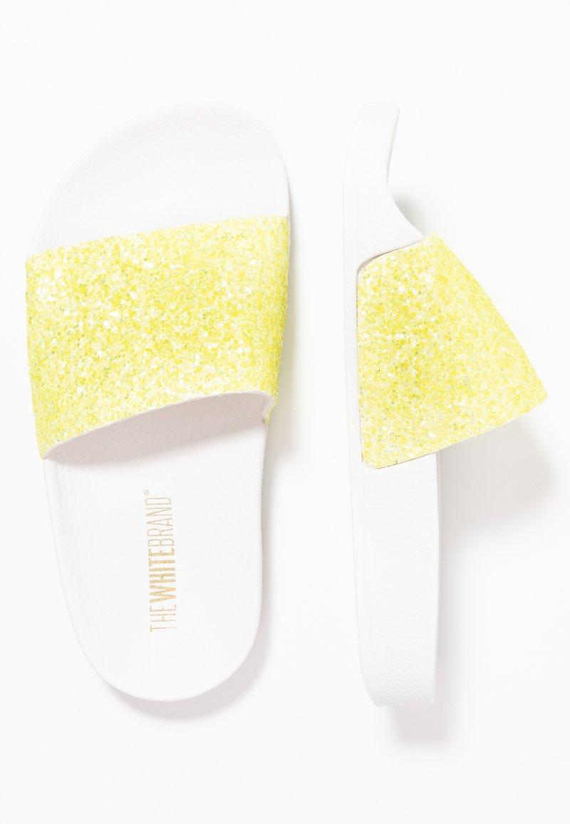 THE WHITE BRAND - MATE GLITTER - Pantolette flach - neon yellow
