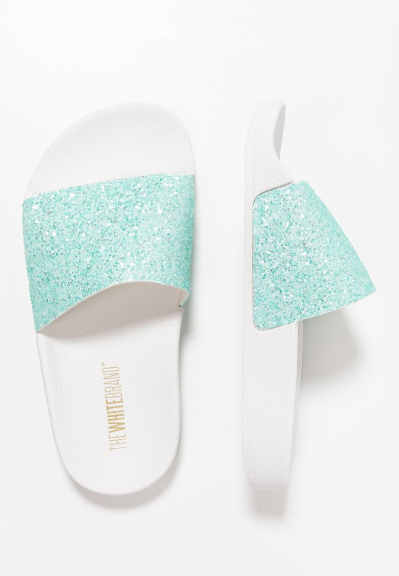 THE WHITE BRAND - MATE GLITTER - Pantolette flach - turquoise