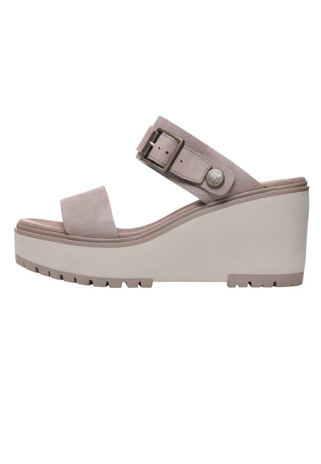 KORALYN BAND WEDGE - Pantolette hoch - taupe brown