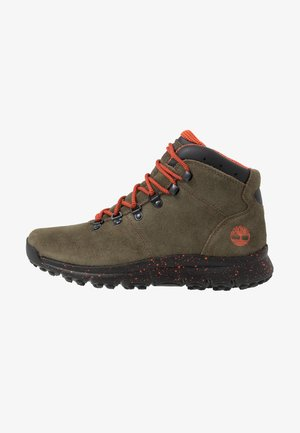 WORLD HIKER MID - Lace-up ankle boots - dark green