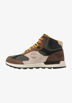 FIELD TREKKER - Korkeavartiset tennarit - dark brown/light taupe