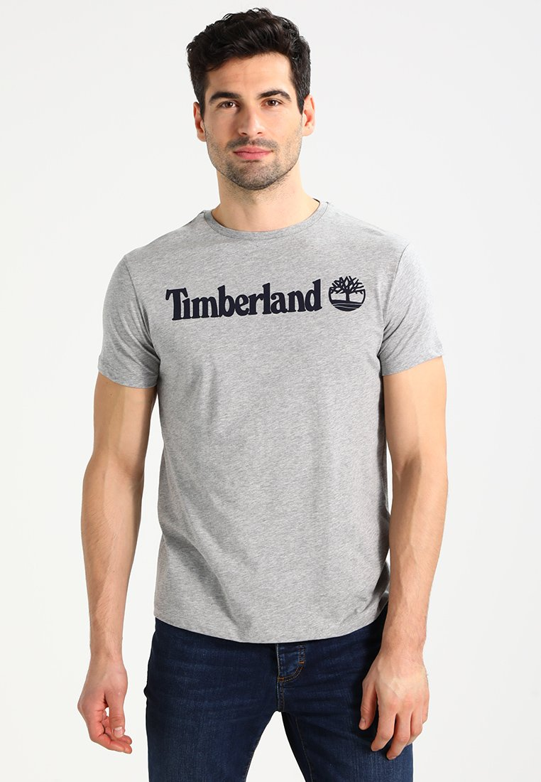 Timberland - CREW LINEAR  - Print T-shirt - grey heather