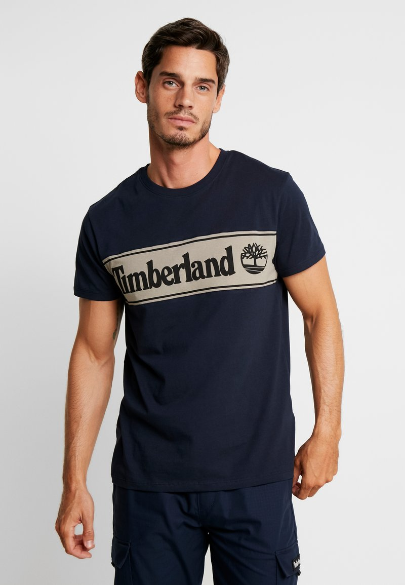 Timberland - CUT & SEW TEE - Print T-shirt - dark sapphire/elephant skin