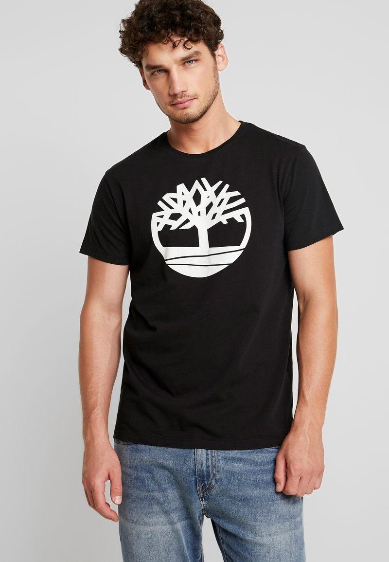 Timberland - KENNEBEC RIVER BRAND REGULAR TEE TREE LINEAR - Print T-shirt - black