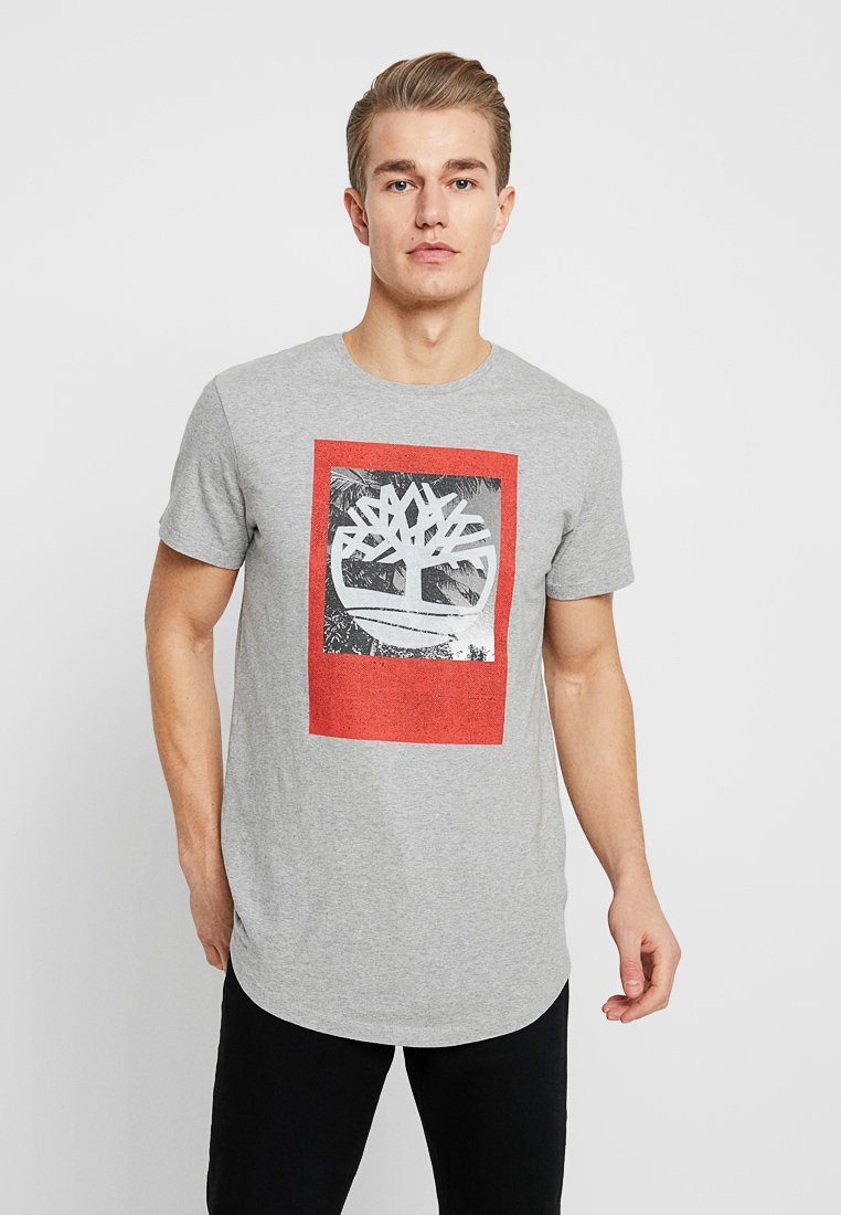 Timberland - KENNEBEC RIVER PHOTOGRAPHIC TEE - Print T-shirt - medium grey heather