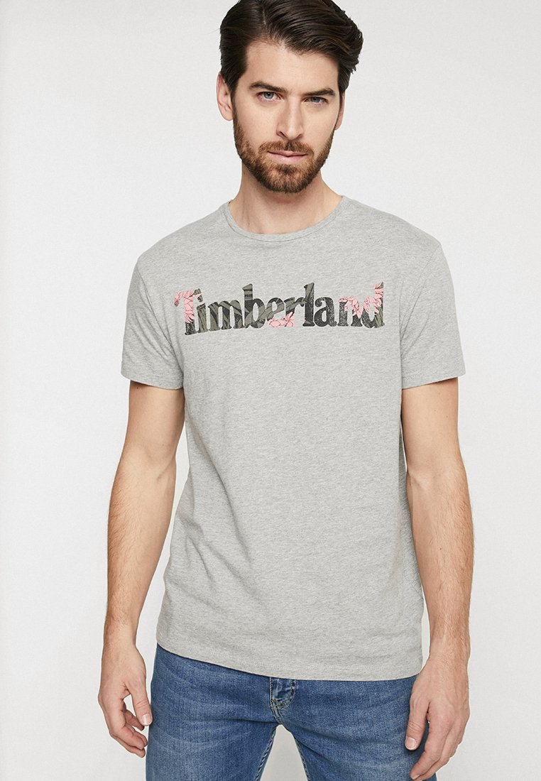 Timberland - KENNEBEC RIVER SLIM TEE TREE - Print T-shirt - medium grey heather