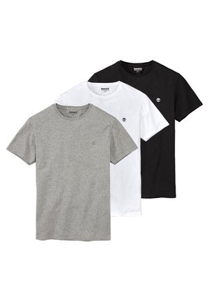 BASIC SLIM TEE 3 PACK - T-shirt - bas - grey/white/black