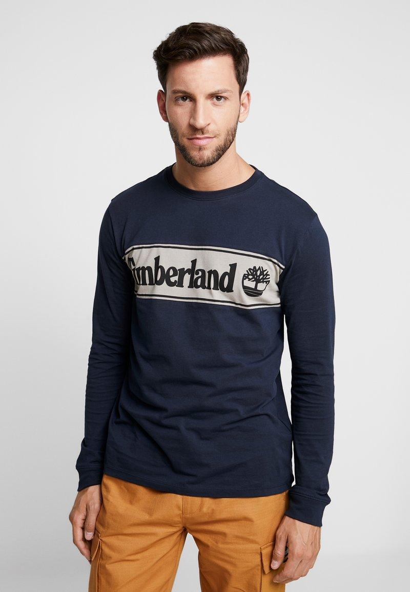 Timberland - CUT & SEW LINEAR LOGO TEE - Long sleeved top - dark sapphire/elephant skin