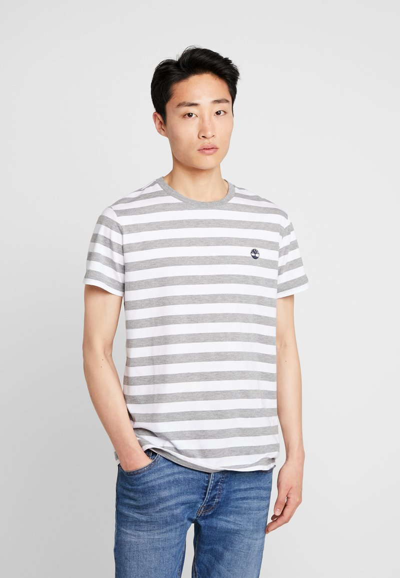 Timberland - STRIPED TEE - Print T-shirt - medium grey heather