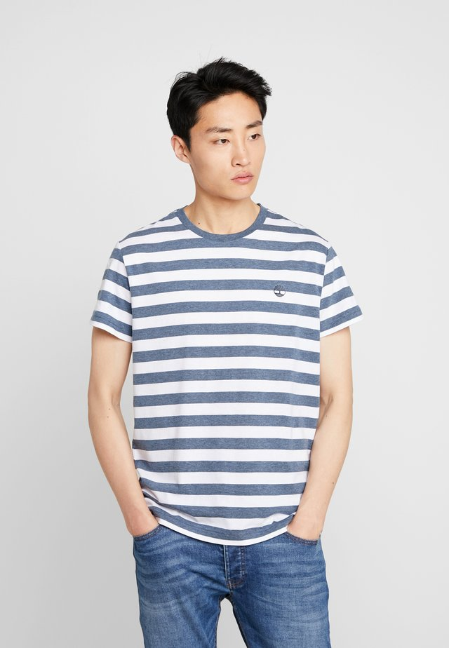 STRIPED TEE - Print T-shirt - dark sapphire heather