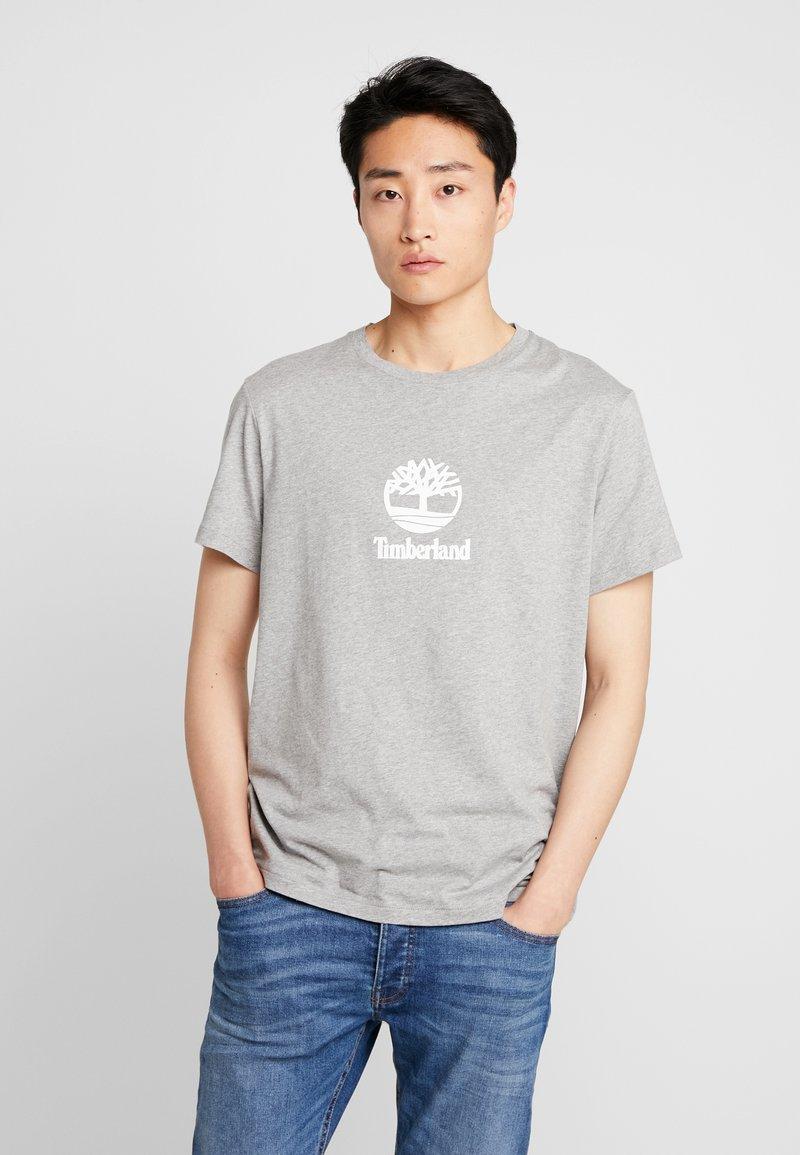 Timberland - STACK LOGO TEE - Print T-shirt - medium grey heather