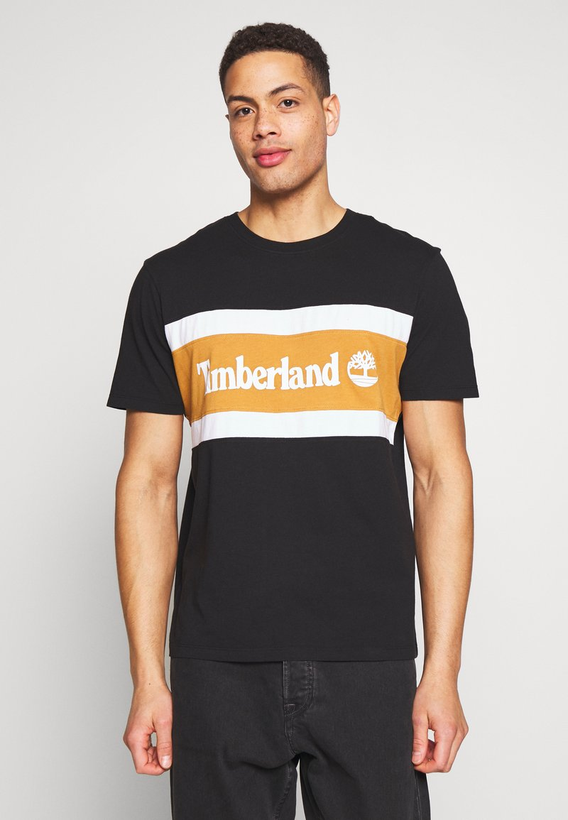 Timberland - CUT SEW COLORBLOCK TEE - T-shirt con stampa - black-wheat boot