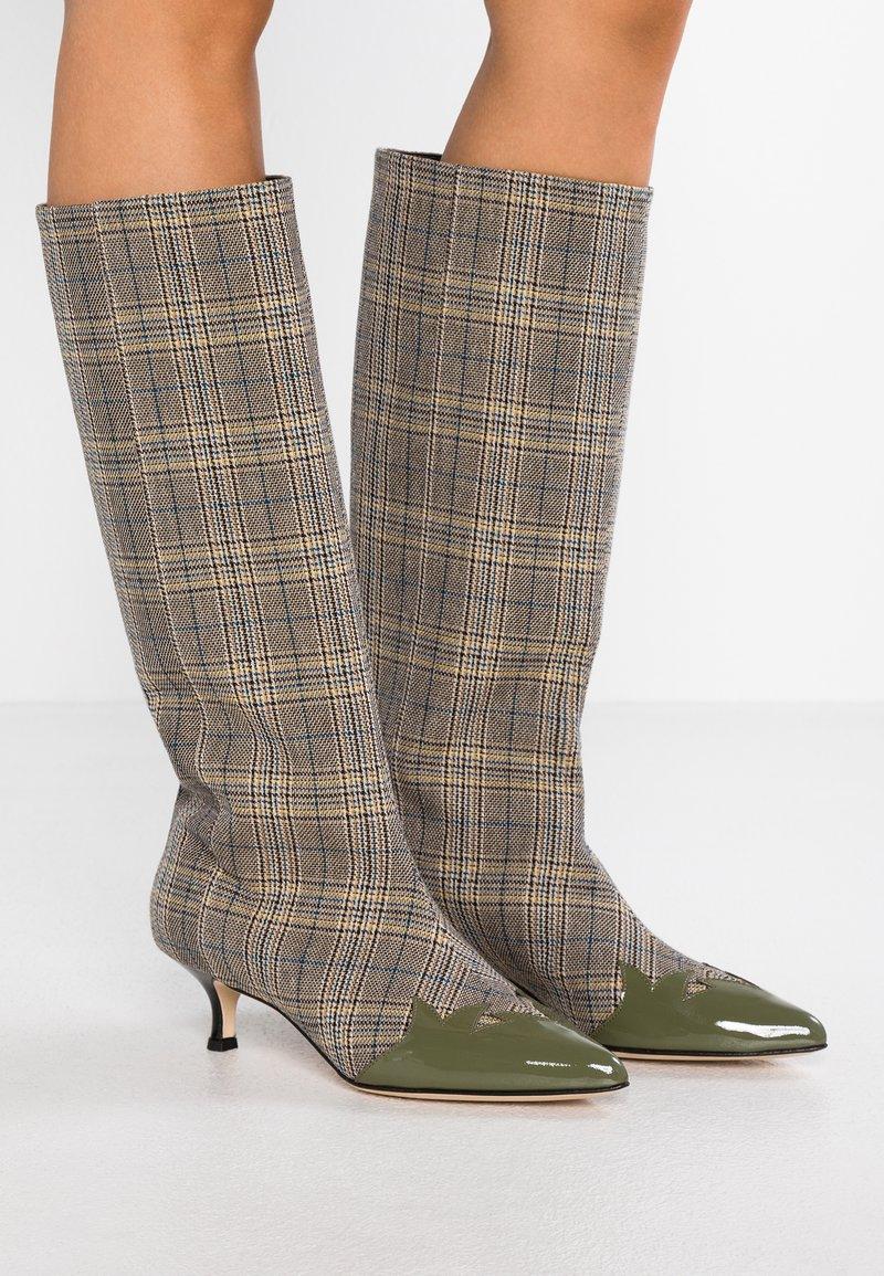 Tibi - EVIN - Boots - tan/blue/olive green/multicolor