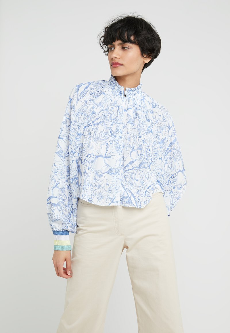 Tibi - ISA CROPPED - Blouse - white/blue
