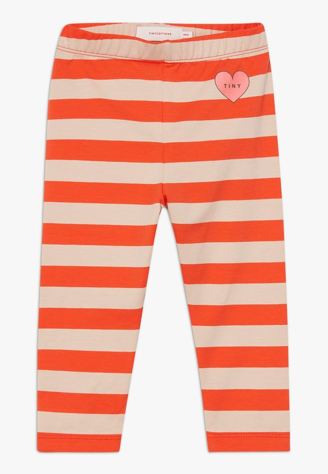 HEART STRIPES PANT - Leggingsit - light nude/red
