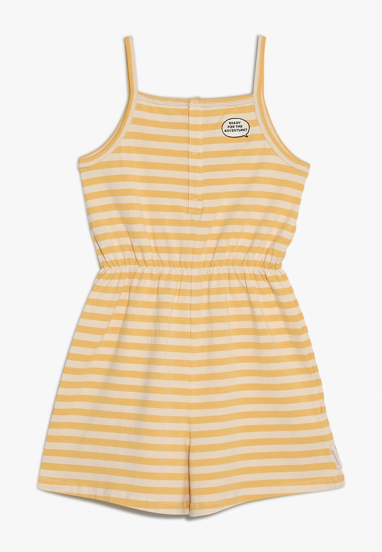 TINYCOTTONS - ADVENTURE STRIPES ROMPER - Mono - cream/canary