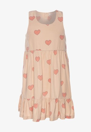 HEARTS DRESS - Denní šaty - nude/red