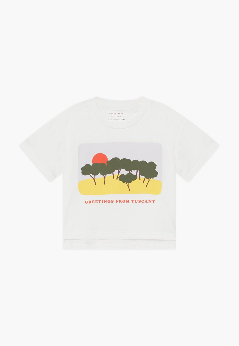 TINYCOTTONS - TUSCANY CROP  - Print T-shirt - off white-yellow