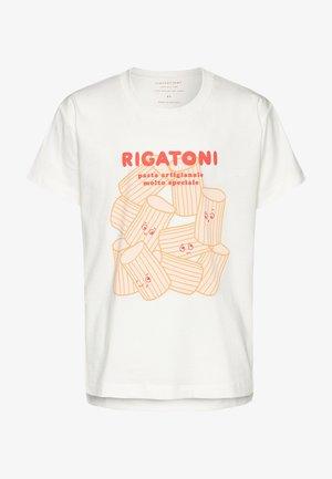 RIGATONI - Triko spotiskem - offwhite/red