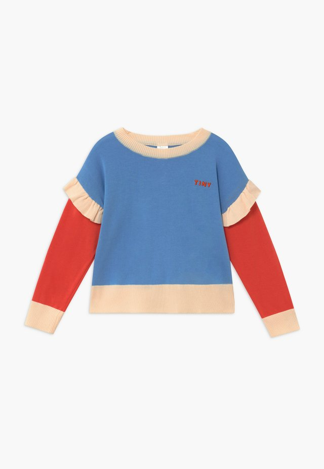 TINY FRILLS CROP  - Strickpullover - blue/red