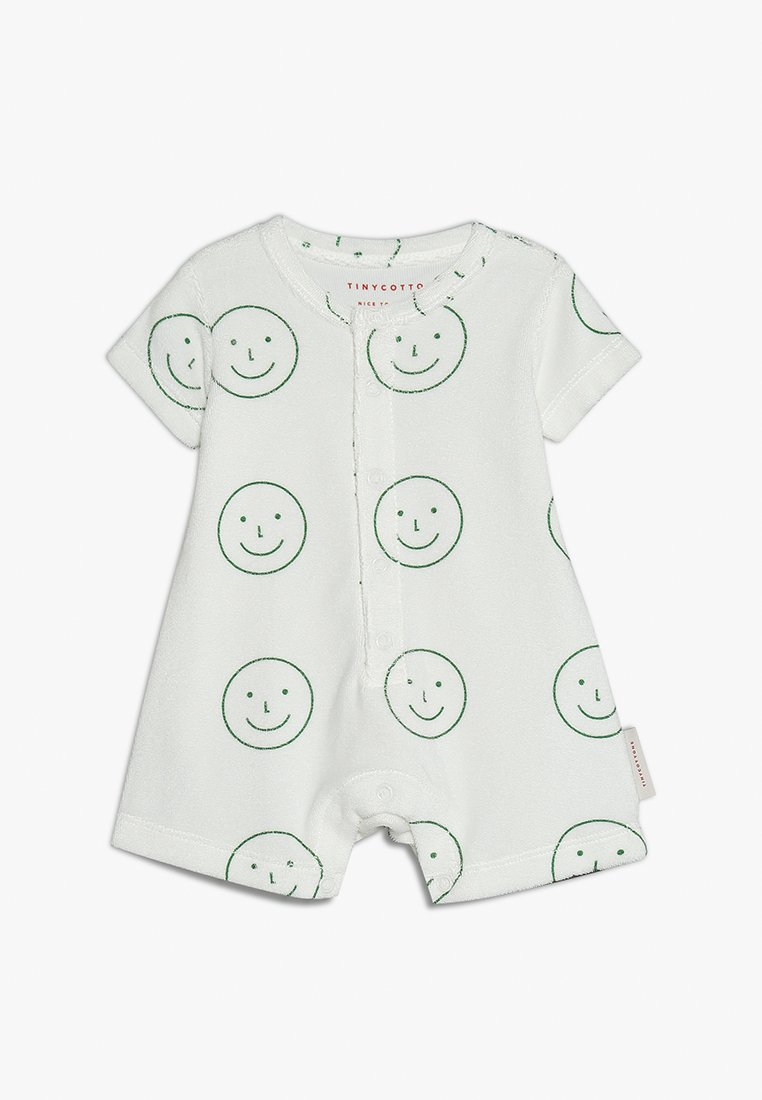 TINYCOTTONS - HAPPY FACE RELAXED ONEPIECE BABY - Jumpsuit - off white/deep green
