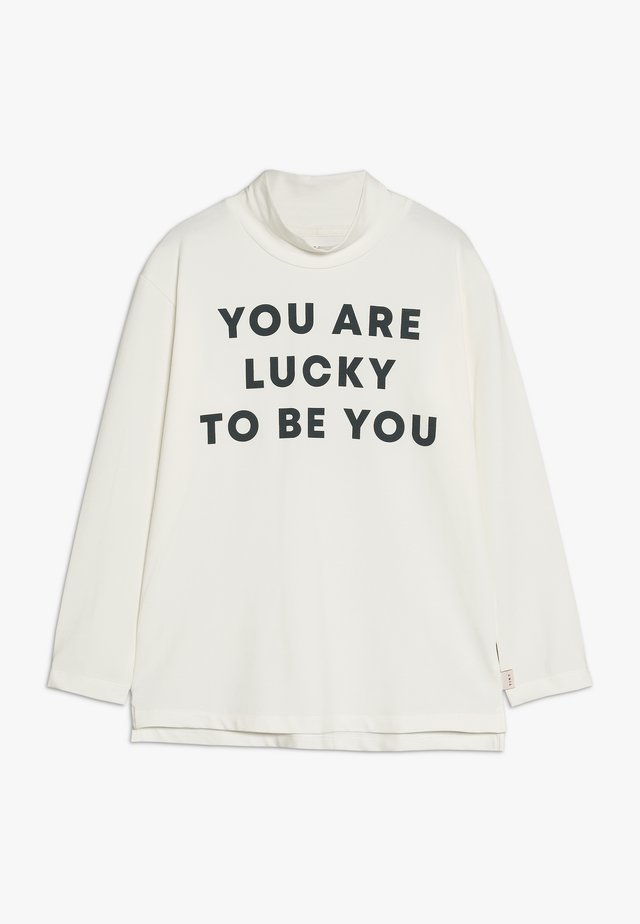 YOU ARE LUCKY MOCK NECK TEE - Topper langermet - off-white/true navy