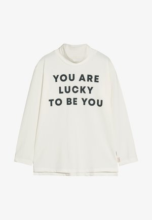 YOU ARE LUCKY MOCK NECK TEE - Long sleeved top - off-white/true navy