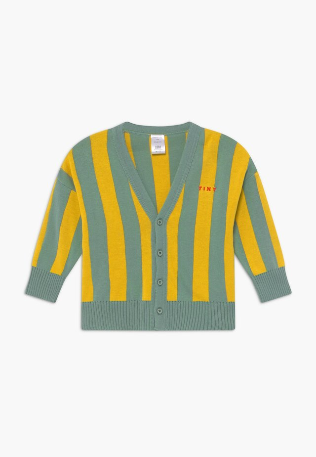 STRIPES CARDIGAN - Neuletakki - sea green/yellow